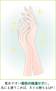 荒れやすい指先の保湿ケアに。爪にも塗り込めば、ネイル持ちもUP!